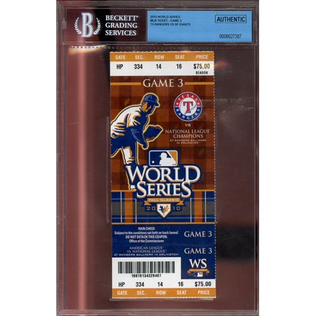 2010 world series mlb ticket - game 3 TEXAS RANGERS VS SF GIANTS BGS AUTHENTIC