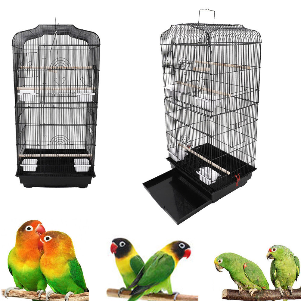"UBesGoo 37"" Bird Parrot Cage Canary Parakeet Cockatiel Bird Finch Bird Cages Black Color"