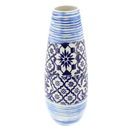 Decmode Coastal 16 inch glazed tear-shaped ceramic vase, Blue