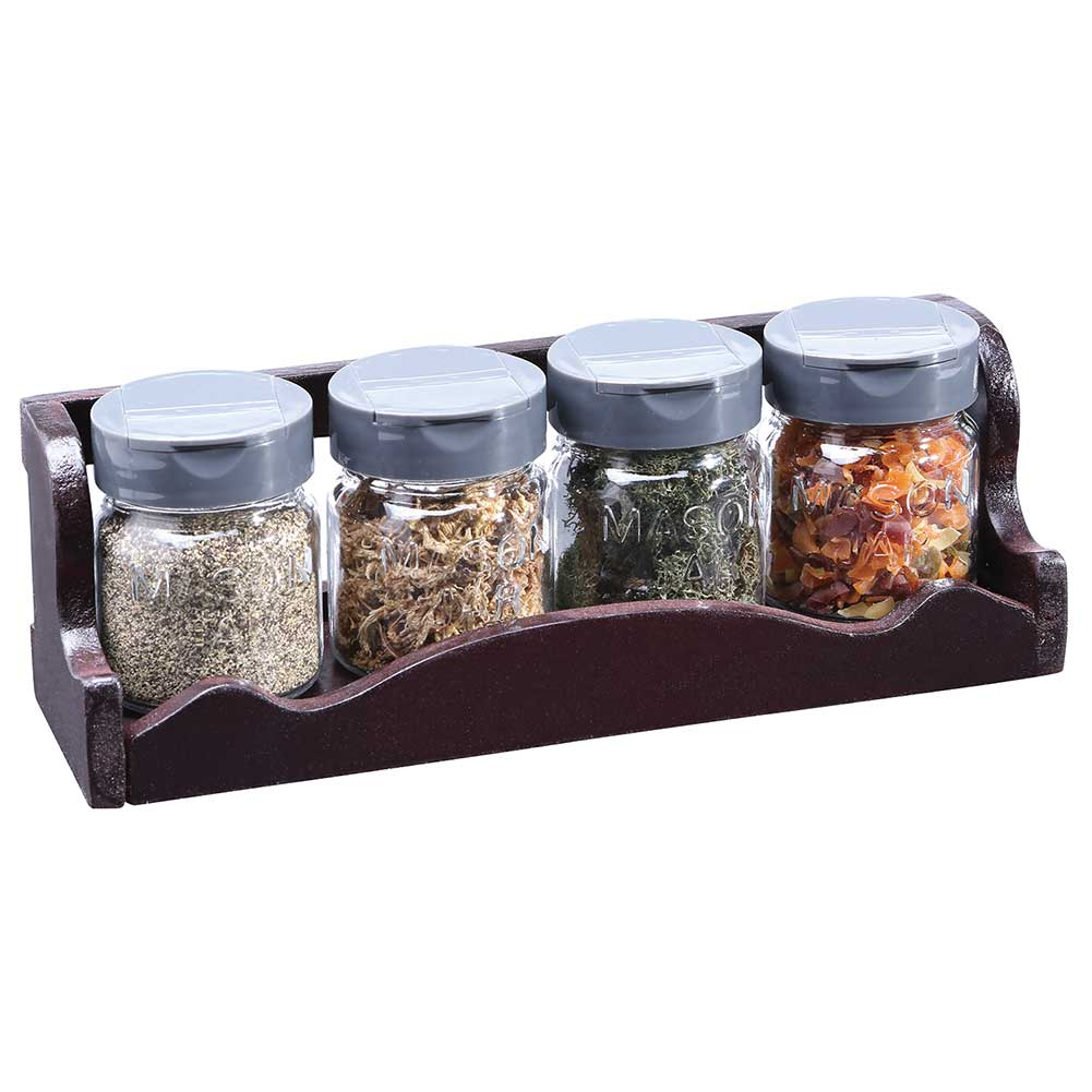 Glass Mason Jar Set W  Vintage Wooden Spice Rack by BARBUZZO