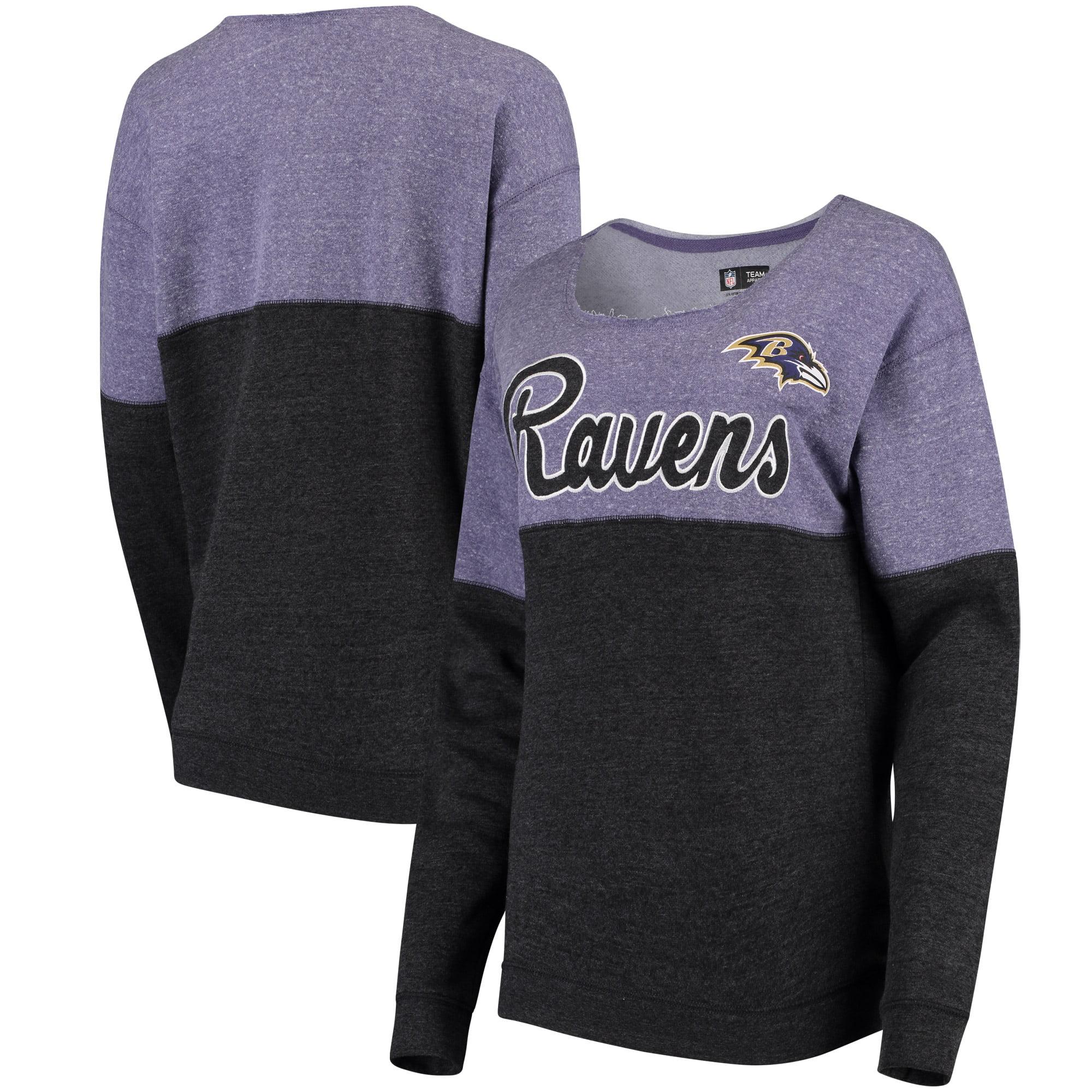 Baltimore Ravens 5th & Ocean by New Era Women's Fleece Tri-Blend Sweatshirt - Purple/Black - M