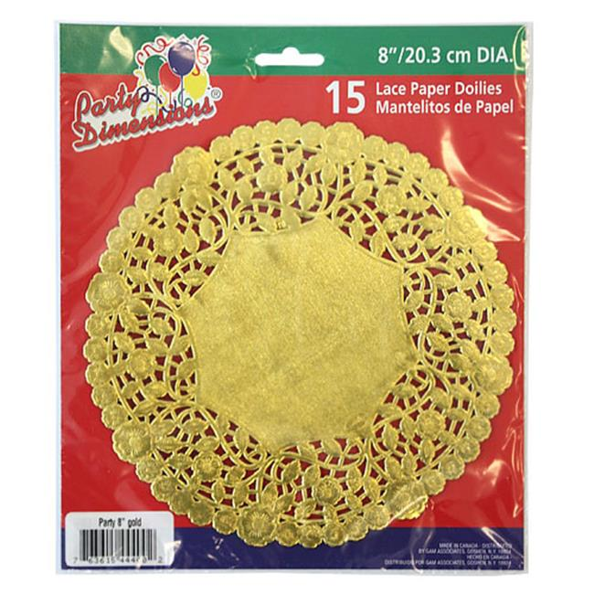 Party Dimensions 72948 8 inch Lace Doily Gold - 720 Per Case