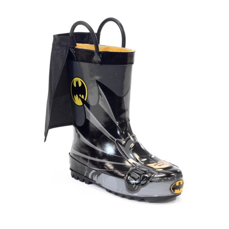 Get in character with these Western Chief kids' Batman rain boots for little superheroes. Its the perfect choice for staying dry while saving the day! Waterproof rain boots with two handles make it easy for kids to pull-on and off and moisture-absorbing cotton linings make sure to keep your little one dry and warm.