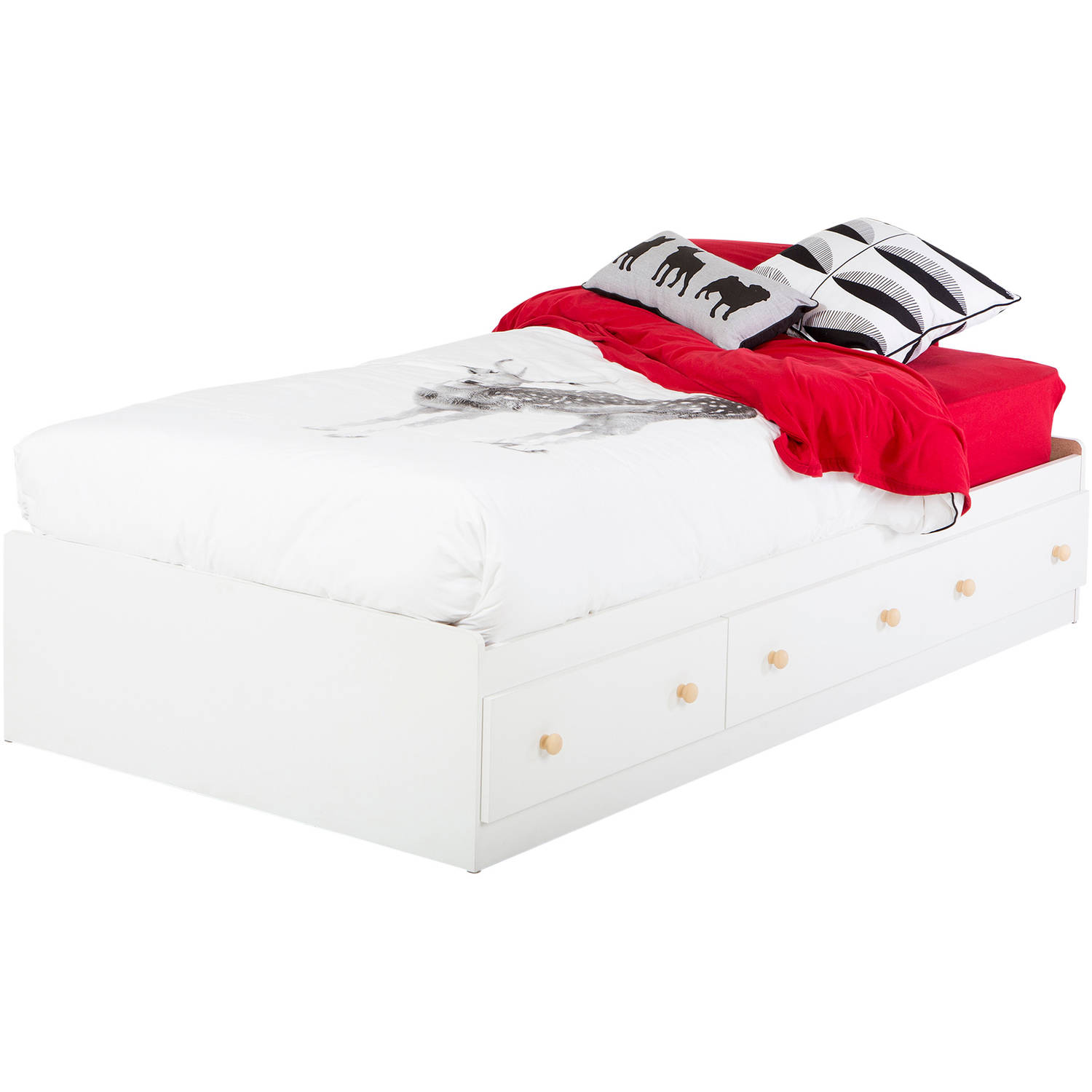 White twin bed with drawers - South Shore Summertime Twin Mates Bed With 3 Drawers 39 White And Maple Walmart Com