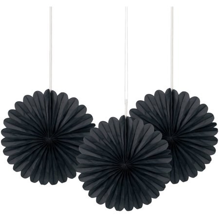 Tissue Paper Fan Decorations, 6 in, Black, 3ct (Graduations Decorations)