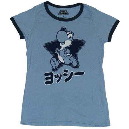 Super Mario Brothers Girls Juniors Ringer T-Shirt - Yoshi Run Over Japanese