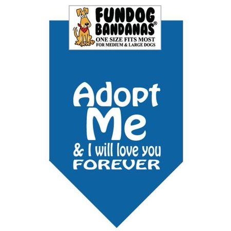 Fun Dog Bandana - Adopt moi et je Love You Forever - Taille unique pour Med à Lg Chiens, foulard turquoise animal