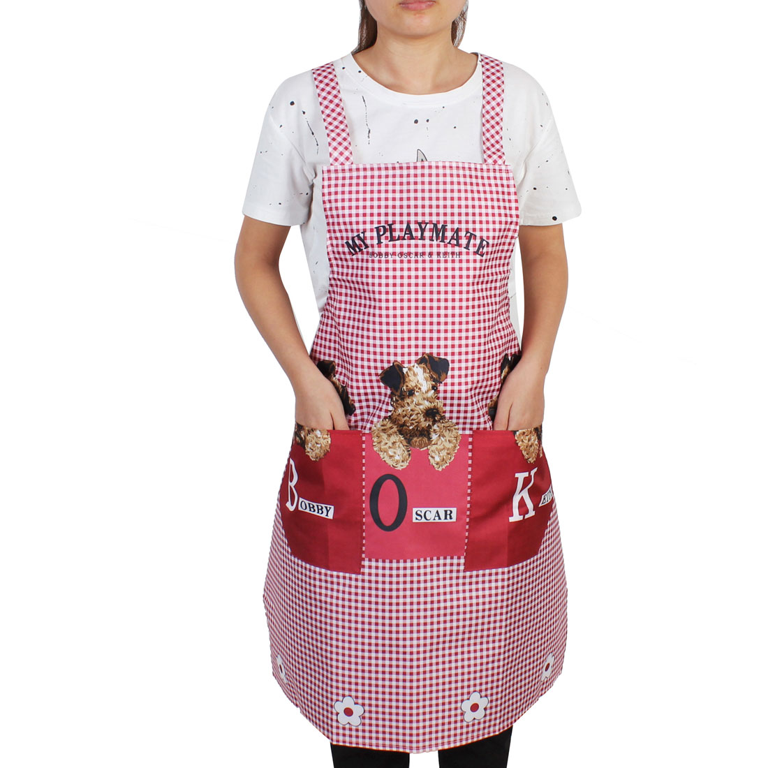 Home Kitchen Canvas Dogs Grid Pattern Apron Bib w Dual Front Pockets Dark Red