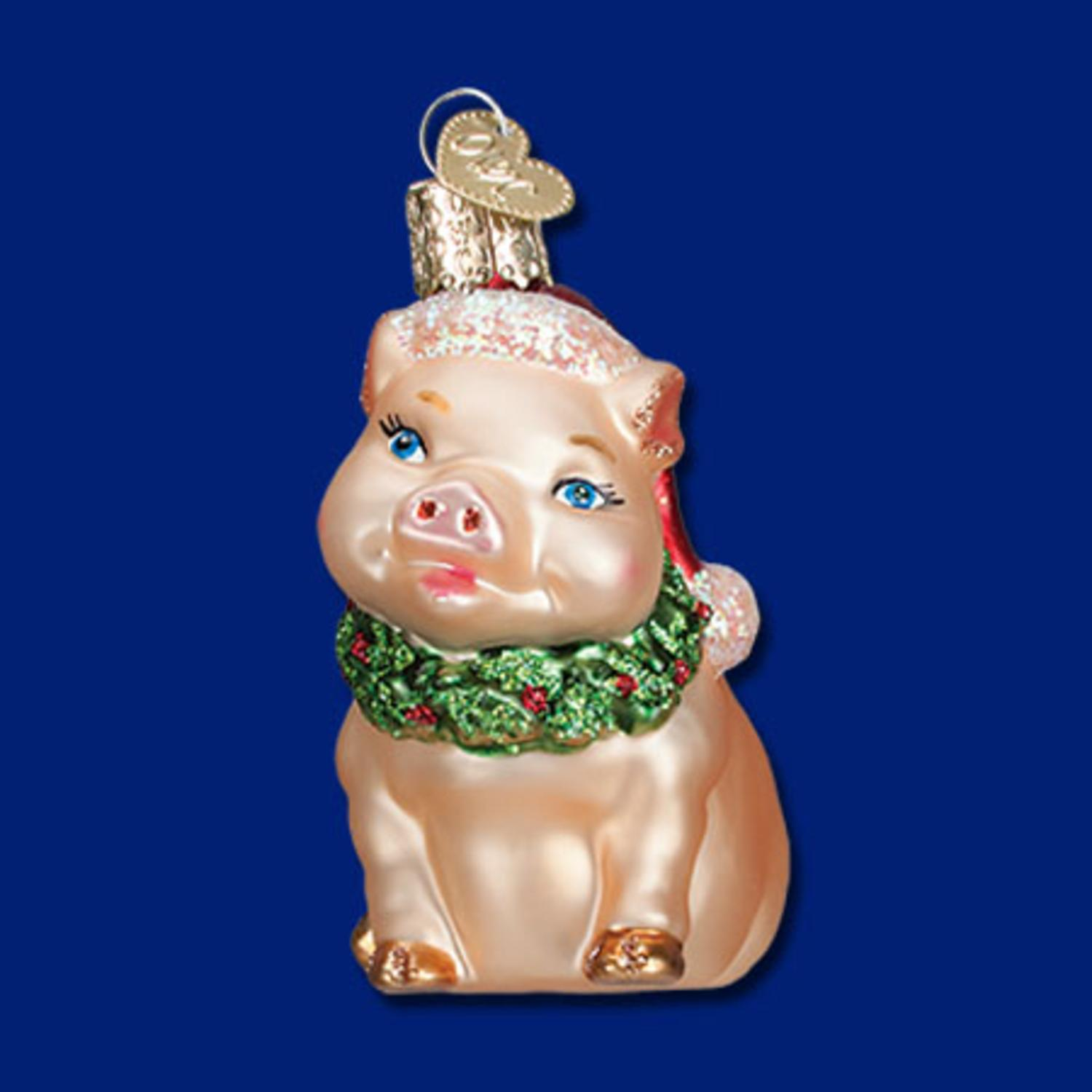 """3.25"""" Old World Christmas """"Holly Pig"""" Glittered Glass Ornament #12420"""