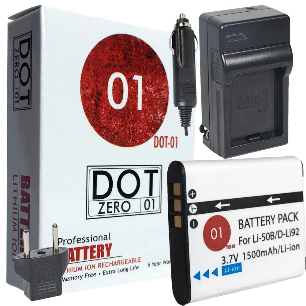DOT-01 Brand 1500 mAh Replacement Olympus LI-50B Battery and Charger for Olympus VR-350 Digital Camera and Olympus LI50B