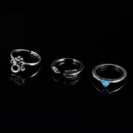 7 Pcs Women Stylish Bohemian Style Ring Retro Elegant Ring Ornament - image 6 of 7