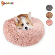 "Spencer Pet Dog Cat Calming Bed, Plush Donut Cuddler Round Cushion Bed for Dogs & Cats Self-Warming and Cozy for Improved Sleep ""Pink, 80CM"""