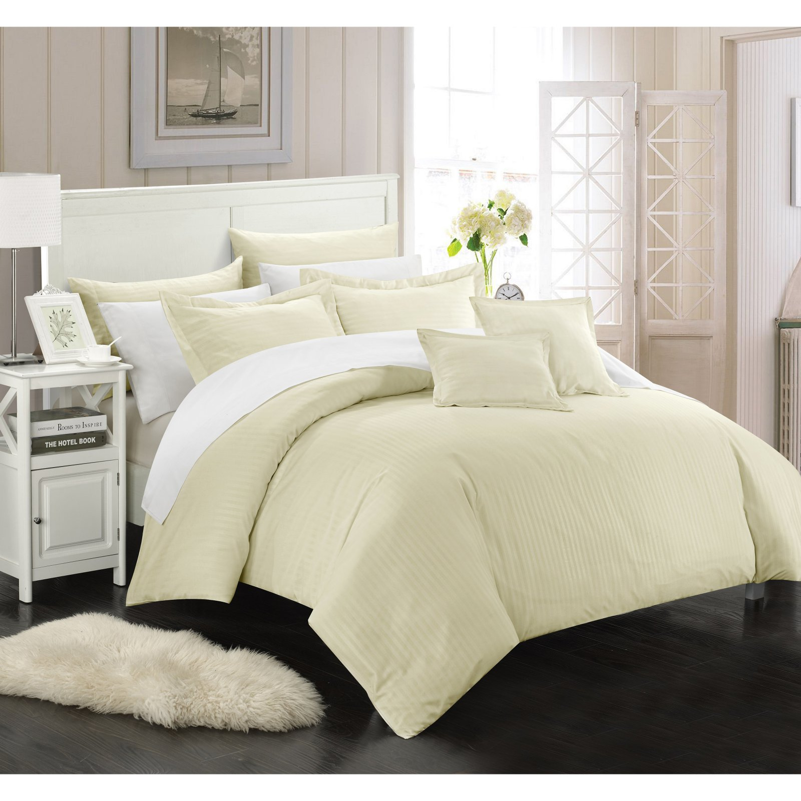 Chic Home 5-Piece Keynes Down Alternative Jacquard Striped Comforter Set