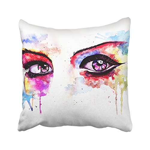 WinHome Watercolor Colorful Eyes Red And Yellow And Blue Decorative Pillowcases With Hidden Zipper Decor Cushion Covers Two Sides 18x18 inches