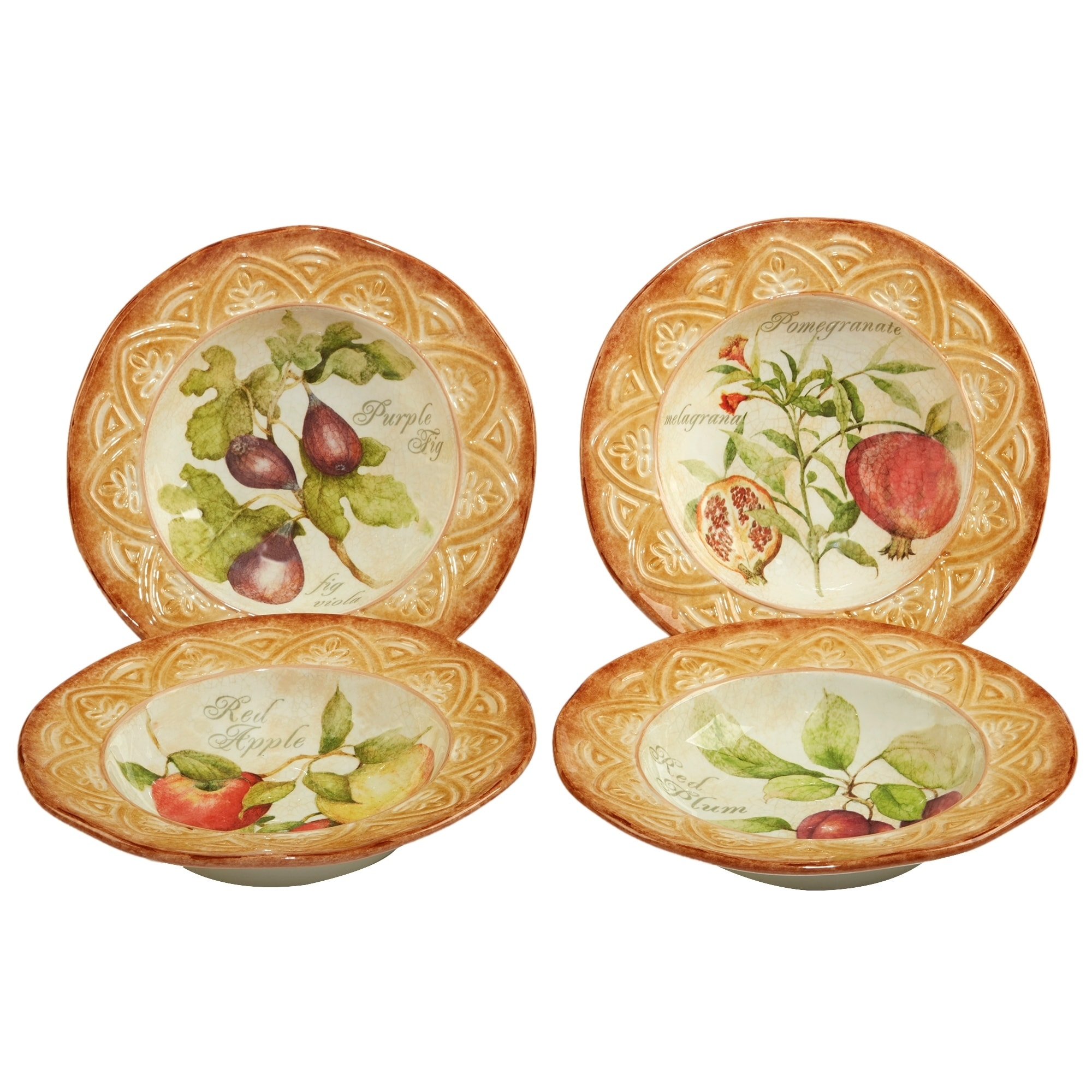 Certified International Tuscan Fruit Soup, Pasta Bowl Assorted Designs Set of 4 by Overstock