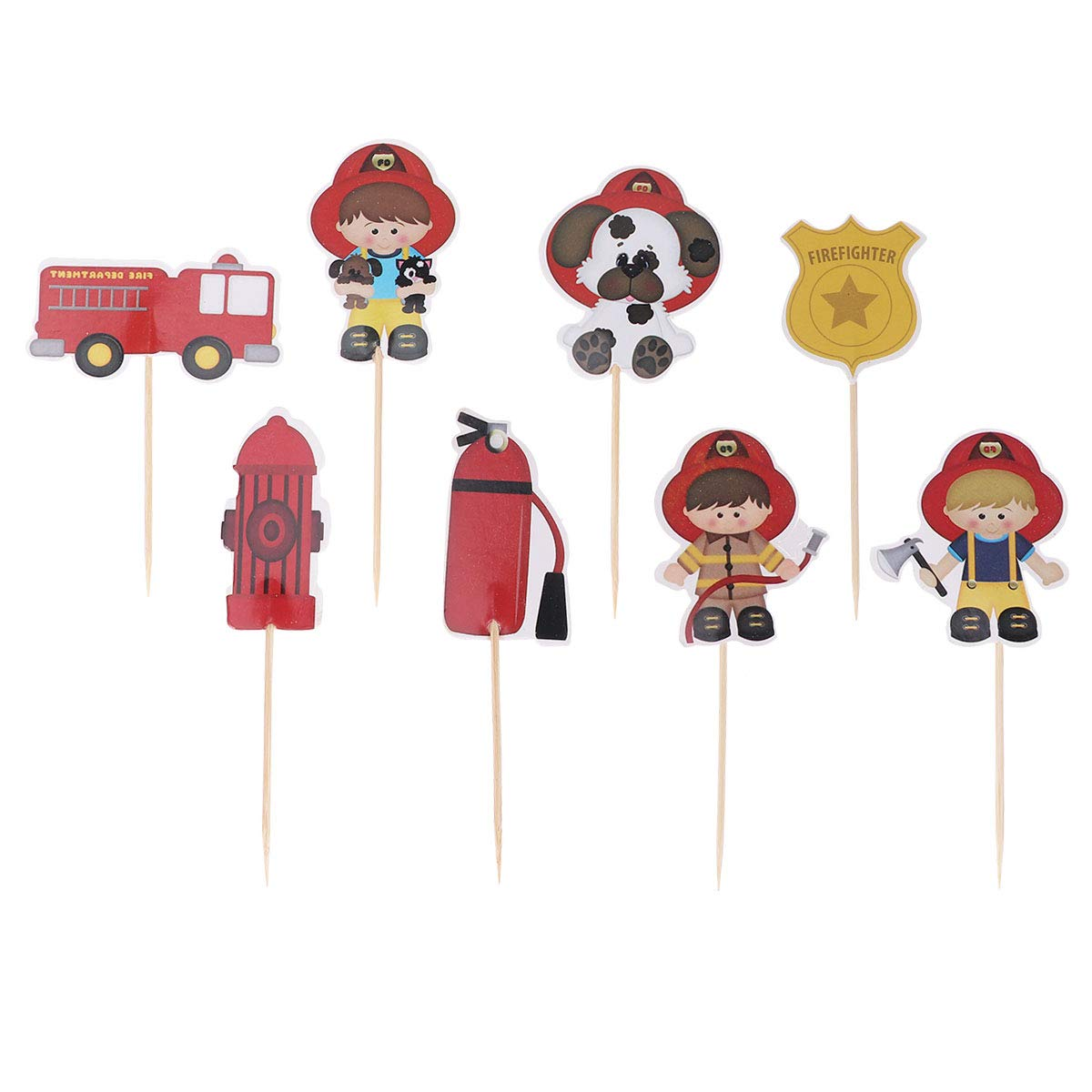 Kids Birthday Cake Topper Fire Truck Cake Picks Cake Decor For Baby Shower Kids Birthday 24pcs Walmart Com Walmart Com