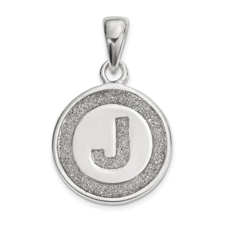 925 Sterling Silver Glitter Enamel Letter J Circle Pendant Charm Necklace Initial Gifts For Women For Her ()