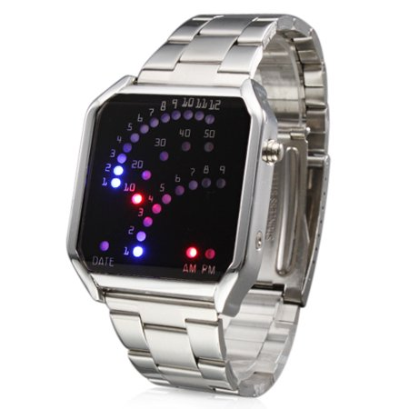New Luxury Led Wristwatch Women Lady Girl Watch Digital Watch Square Dial Sliver Band Blue