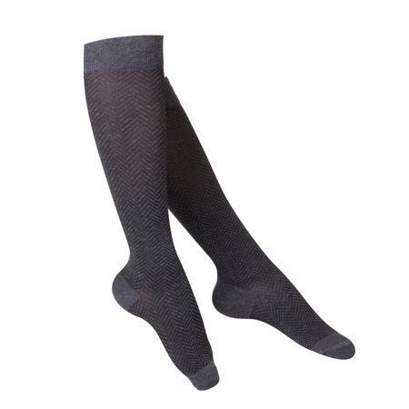 Touch Women's Compression Socks, Knee High, Pattern Knit, 15-20 mmHg, Charcoal, Small