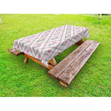 Fine Checkered Outdoor Tablecloth Diagonal Striped Design With Delicate Gentle Flower Figures Feminine Decorative Washable Fabric Picnic Table Cloth 58 Andrewgaddart Wooden Chair Designs For Living Room Andrewgaddartcom