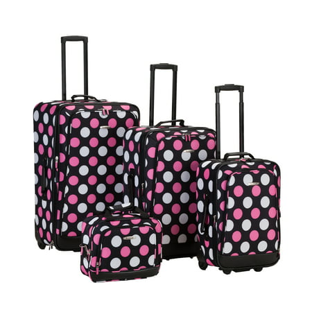 Rockland Escape 4pc Luggage Set - Pink Dot