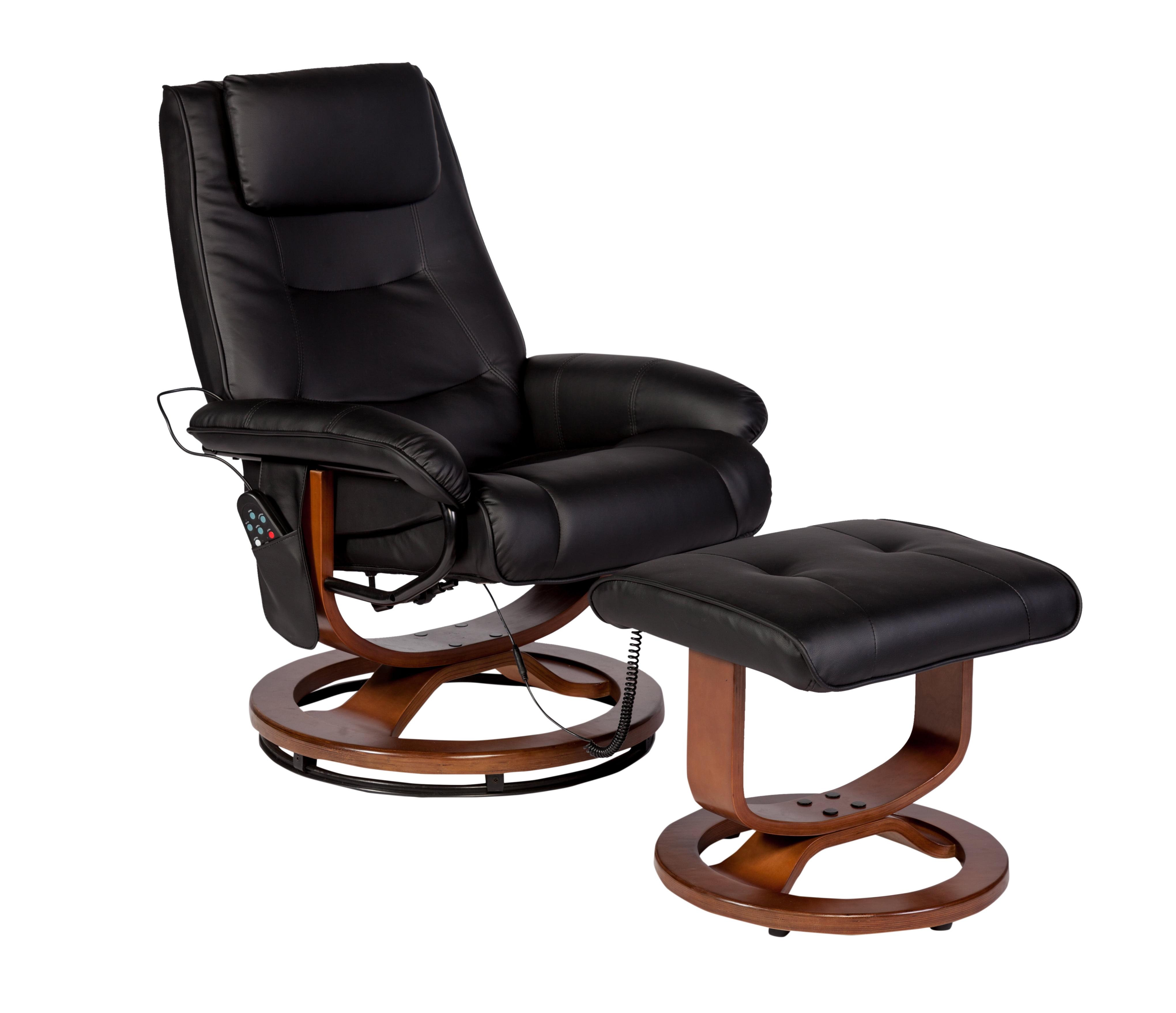 Relaxzen Reclining Massage Chair And Ottoman Brown Microseude Walmart Com Walmart Com