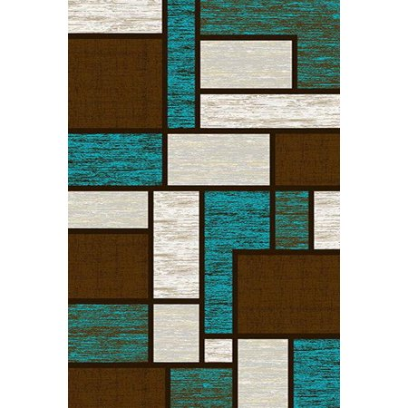 PREMIUM 3D Hand Carved Modern 5x8 5x7 Rug Contemporary 3995 Brown Turquoise ()