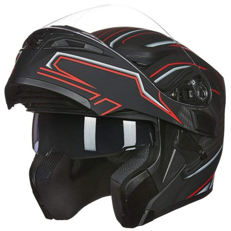 DOT Approved ILM Motorcycle Modular Flip-up Helmet Dual Visors Full Face Helmet with 6 colors& 4 sizes Available ()