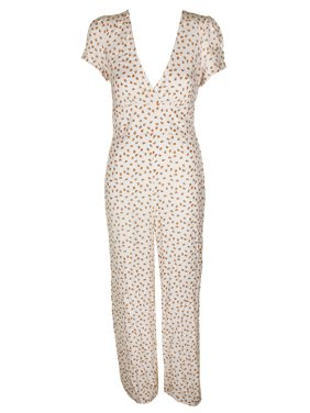 Free People Ivory Multi Short-Sleeve Floral Print Mia Empire-Waist Jumpsuit 8