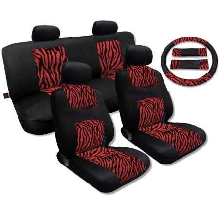 Red Zebra Accent Fur Black Mesh Cool Breeze Animal Print Seat Cover Set Fits Jeep Liberty Low Back (Liberty Set)