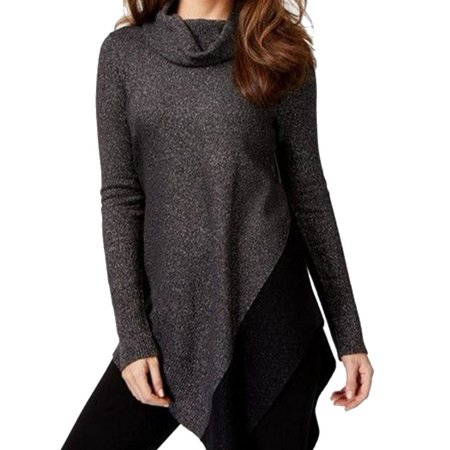 Alfani Women's Asymmetrical Metallic Knit (Jewel Neck Metallic Sweater)