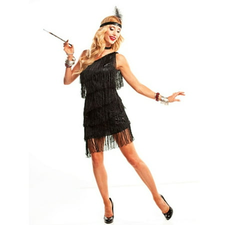 Black Tassel Adult 1920s Dazzling Flapper Dress Costume](1920s Themed Dress)