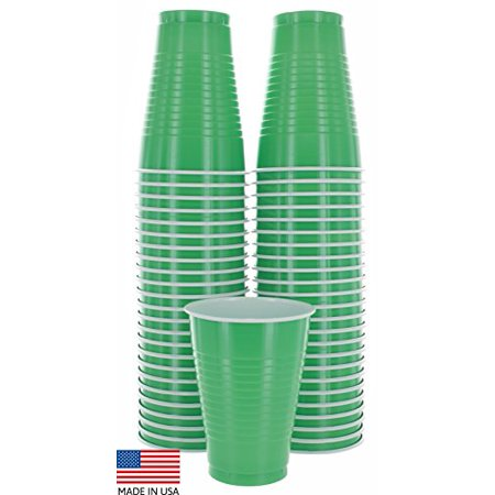 50PK GRN Colored 12-Ounce Disposable Plastic Party Cups-Ideal for Weddings - Colored Plastic Cups