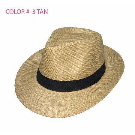 Women Men Brown Fedora Trilby Gangster Cap Summer Beach Sun Straw Panama Hat  Bow - Walmart.com a431c9187ce5