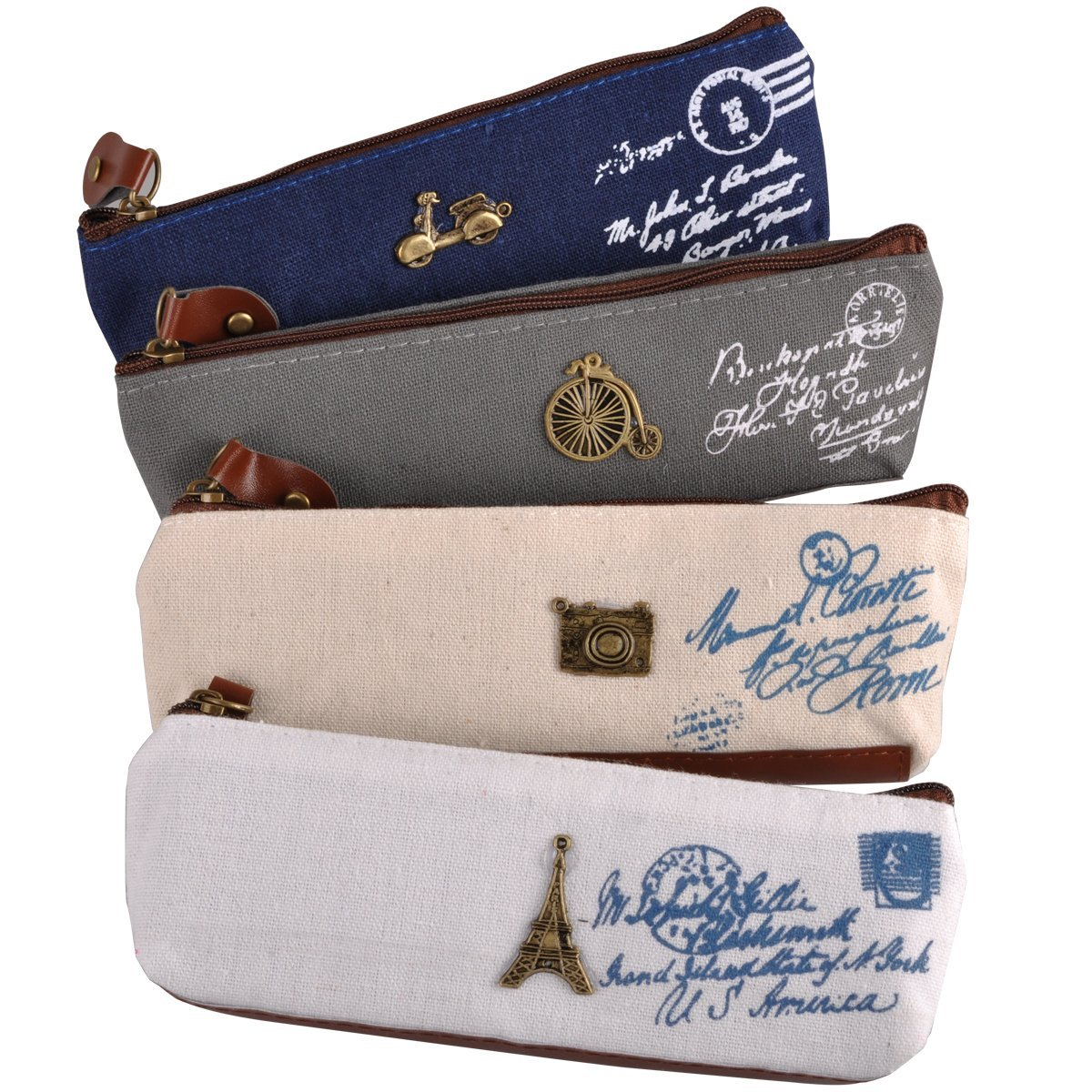eZAKKA Vintage Pencil Pouch Pen Case Canvas Stationery Bag with Zipper Gift for Student Kids,4-Pack
