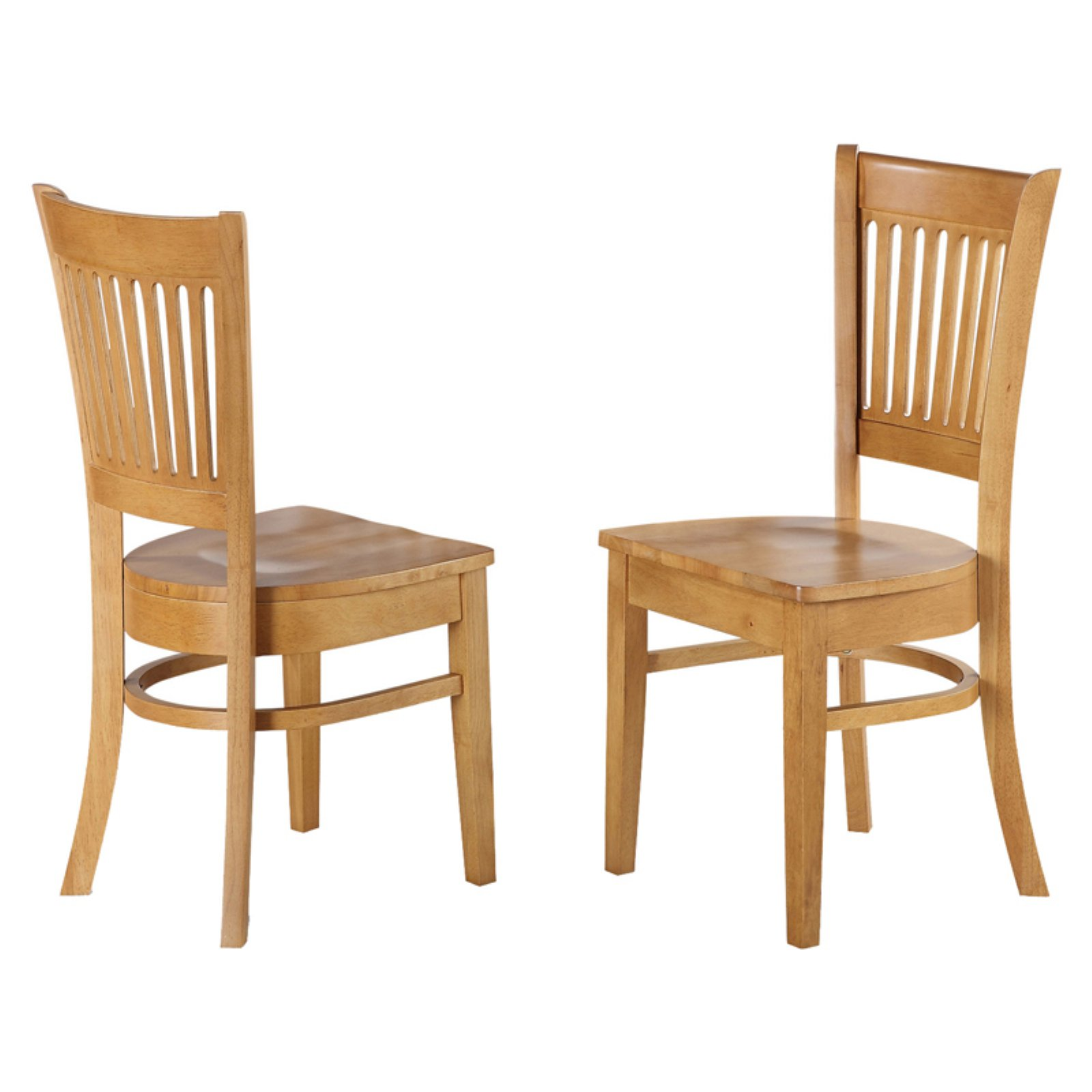 East West Furniture Vancouver Dining Chair with Wooden Seat - Set of 2