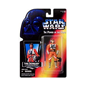 star wars: power of the force red card luke skywalker in x-wing fighter pilot gear with short lightsaber action figure (Luke Lightsaber)