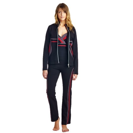 La Society Womens Yoga Fitness 3 Piece Black Burgundy Grey Work Out Suit
