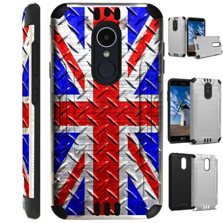 Silver Guard Phone Case Cover For LG Stylo 4 | Stylo 4 Plus | Q Stylus Q Plus Q Alpha (UK Flag Crosshatch) ()