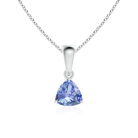 14k Tanzanite Jewelry Set - Claw-Set Trillion Tanzanite Solitaire Pendant in 14K White Gold (5mm Tanzanite) - SP0750T-WG-A-5