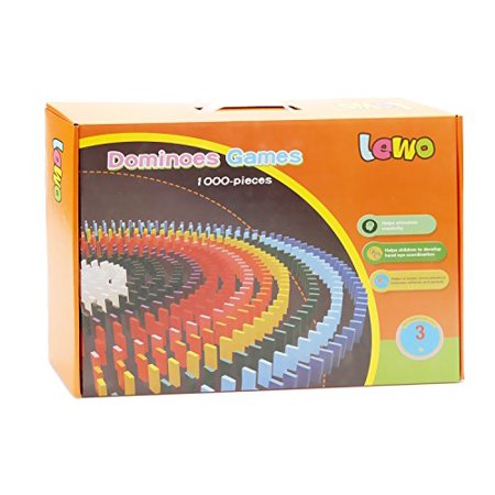 Lewo 1000 Pcs Wooden Dominoes Set for Kids Building Blocks Racing Tile Games with Storage Bag - image 3 of 4
