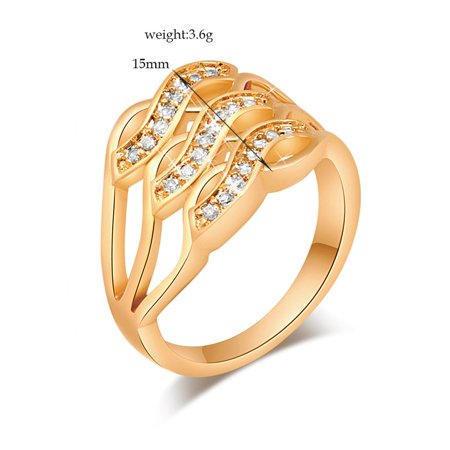 VENSE 3 Rows Curved Style Ladies Zircon Delicate Engagement Ring Female Wedding Ring - image 2 de 6