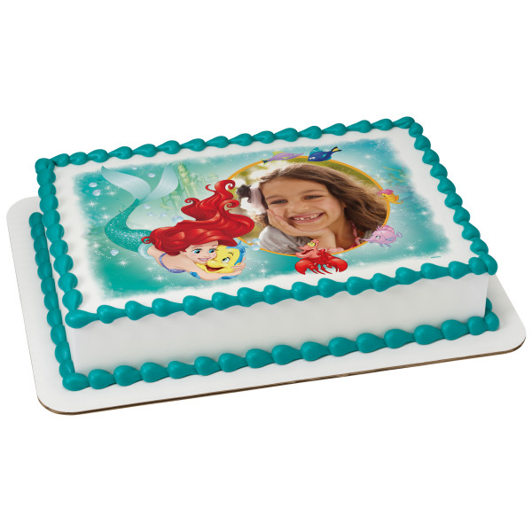 Disney Mermaid Ariel Princess Edible Birthday Cake Image Topper 1//4 Sheet Icing