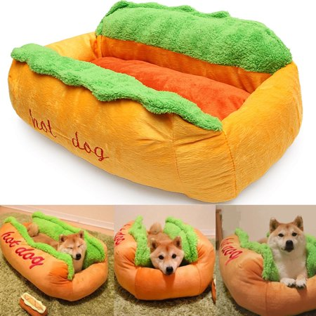 Moaere Hot Dog Design Couch Pet Dog Bed Kennel Cat Nest Ultra Cotton Lounge Sofa Dog House Pet Basket Removable and Washable Pet Cushion Mat for Winter (Basket Lounge)