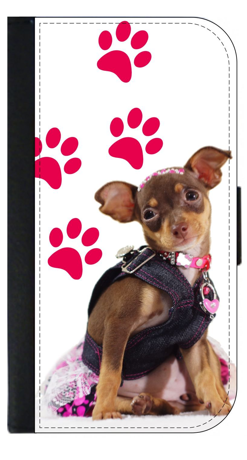 iphone flip phone puppy in denim wallet style cell phone with 2 card 9660