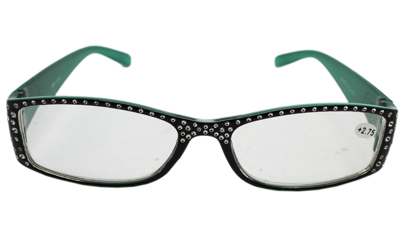 b8390afb127 Black and Teal Framed Reading Glasses w Rhinestone Inlays (+2.75) -  Walmart.com