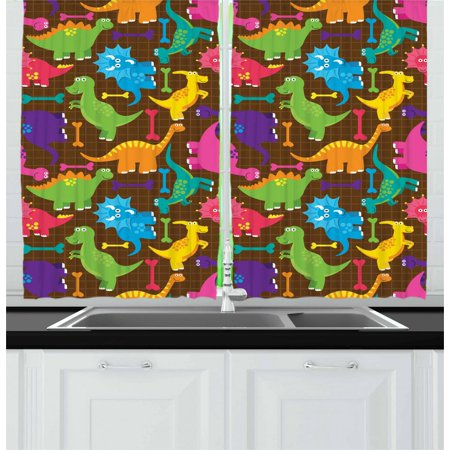 Tyrannosaurus Curtains 2 Panels Set, Video Games Style Digital Featured Baby Wild Dinos Kids Boys Nursery Concept, Window Drapes for Living Room Bedroom, 55W X 39L Inches, Multicolor, by
