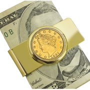1883 First-Year-of-Issue Gold-Layered Liberty Racketeer Nickel Goldtone Coin Money Clip