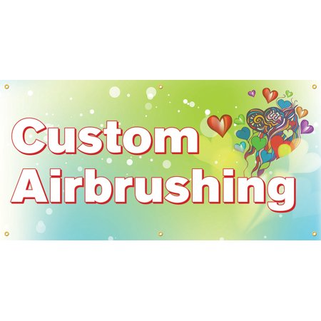 Custom Airbrushing Vinyl Display Banner with Grommets, 3'Hx6'W, Full Color - Vinyl Banners Cheap