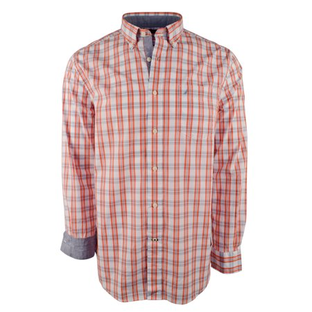 Nautica Men's Long Sleeve Plaid Classic Fit Oxford Shirt-TL-S Loose Fit Oxford
